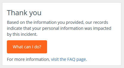 Equifax - Your personal data is impacted!